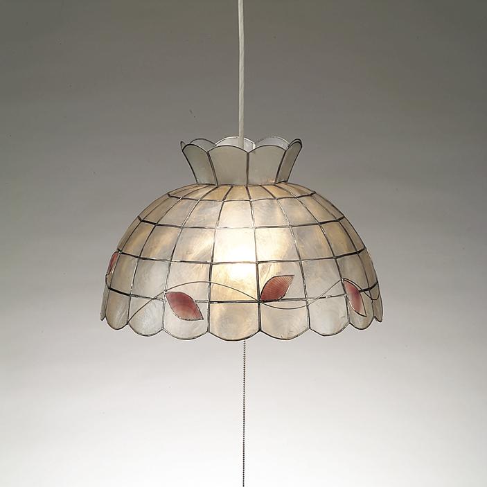 葉っぱの模様が優しいカピスシェルの軽いペンダントライト/120wの明るさ/蛍光灯ランプ/ CP-1EF/インテリア照明のフレッヒダックス