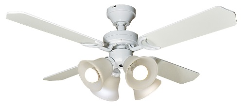 送料無料!白熱電球セット付♪傾斜天井対応型リモコン付き簡単取り付けシーリングファン。灯具付き。ホワイトインテリア照明のフレッヒダックス
