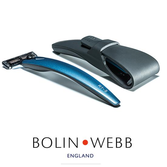 英国製 名車と同じ塗装を施したプレミアム シェーバー 髭剃り ( Gillette マッハシンスリー 3枚刃 ) Bolin・Webb R1  Blue 3000 替刃は ジレット マッハシンスリー に対応 ギフト プレゼント 誕生日 記念日 父の日 などに