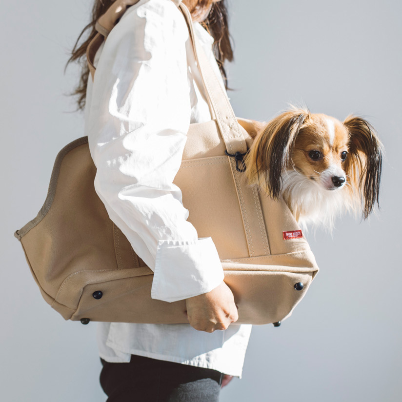 【犬 キャリー】スクエア トート キャンバス ソリッド S サイズ犬 ドッグ いぬ ペット ペット用 動物 犬用バッグ キャリー バッグ キャリーバッグ かばん 鞄 おしゃれ シンプル 日本製 洗える 洗濯 病院 通院 トイプードル チワワ