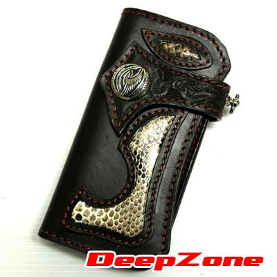 【DEEP ZONE】ライダーズロングウォレットALL SILVER パイソン手彫り&純銀 ブラウン【あす楽対応】