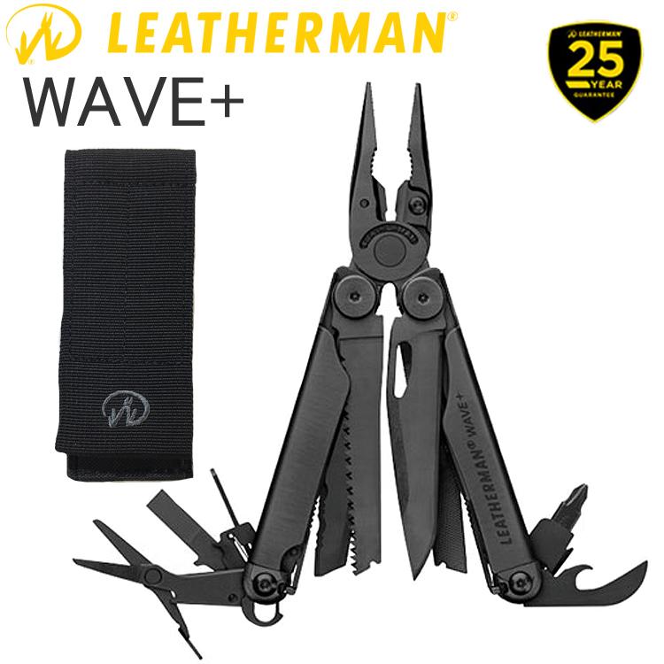 25年保証 LEATHERMAN レザーマン WAVE PLUS BLACK ウェーブ プラス ブラック 17機能マルチツール 正規輸入代理店品 条件付き送料無料 あす楽対応