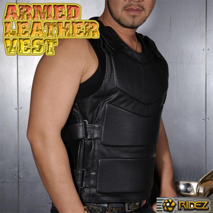 RIDEZ ARMED LEATHER VEST ライズアームドレザーベスト脊椎&胸部パッド標準装備【あす楽対応】