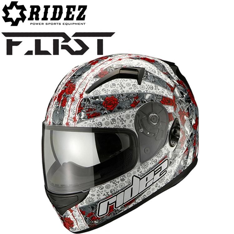 RIDEZ ライズ FIRST ユナイテッドローズ ホワイト フルフェイスヘルメット ファーストSG規格 バイク用ヘルメット デザインヘルメット 条件付き送料無料 あす楽対応