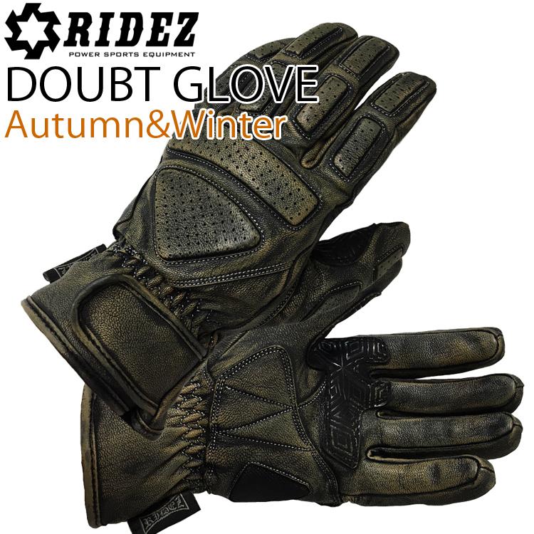 RIDEZ ライズ DOUBT ダウトグローブ RLG380 BK/DUST バイク用ウィンターグローブ エイジング加工  あす楽対応