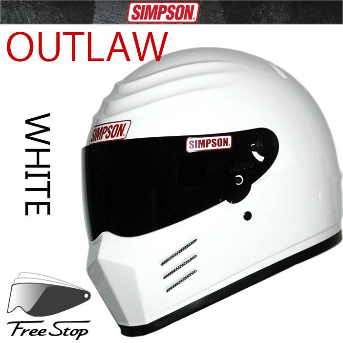 送料無料 SIMPSON シンプソンヘルメット アウトロー OUTLAW ホワイト フルフェイスヘルメット SG規格全排気量対応【あす楽対応】