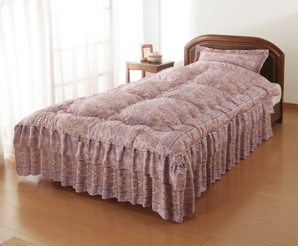 シルク混ダブルフリルベッド布団 セミダブル ピンク 同柄枕カバー付き