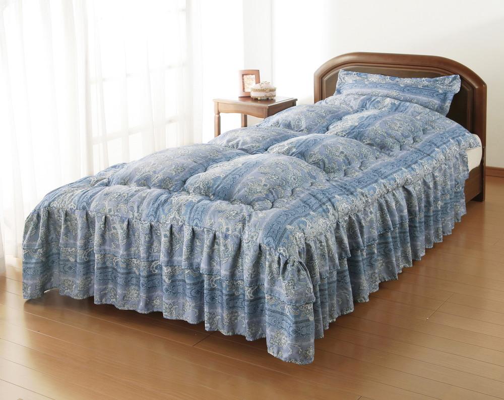 シルク混ダブルフリルベッド布団 セミダブル ブルー 同柄枕カバー付き