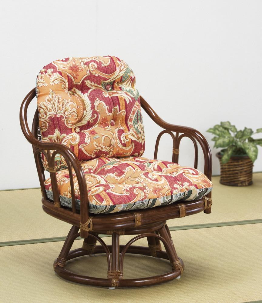 天然籐 籐製 回転式 高座椅子 1脚
