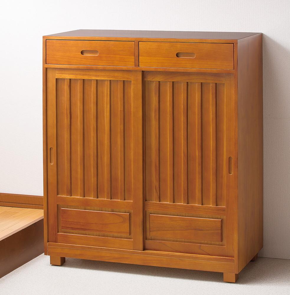 天然木 和風 引き戸 シューズボックス 幅80cm 2枚扉