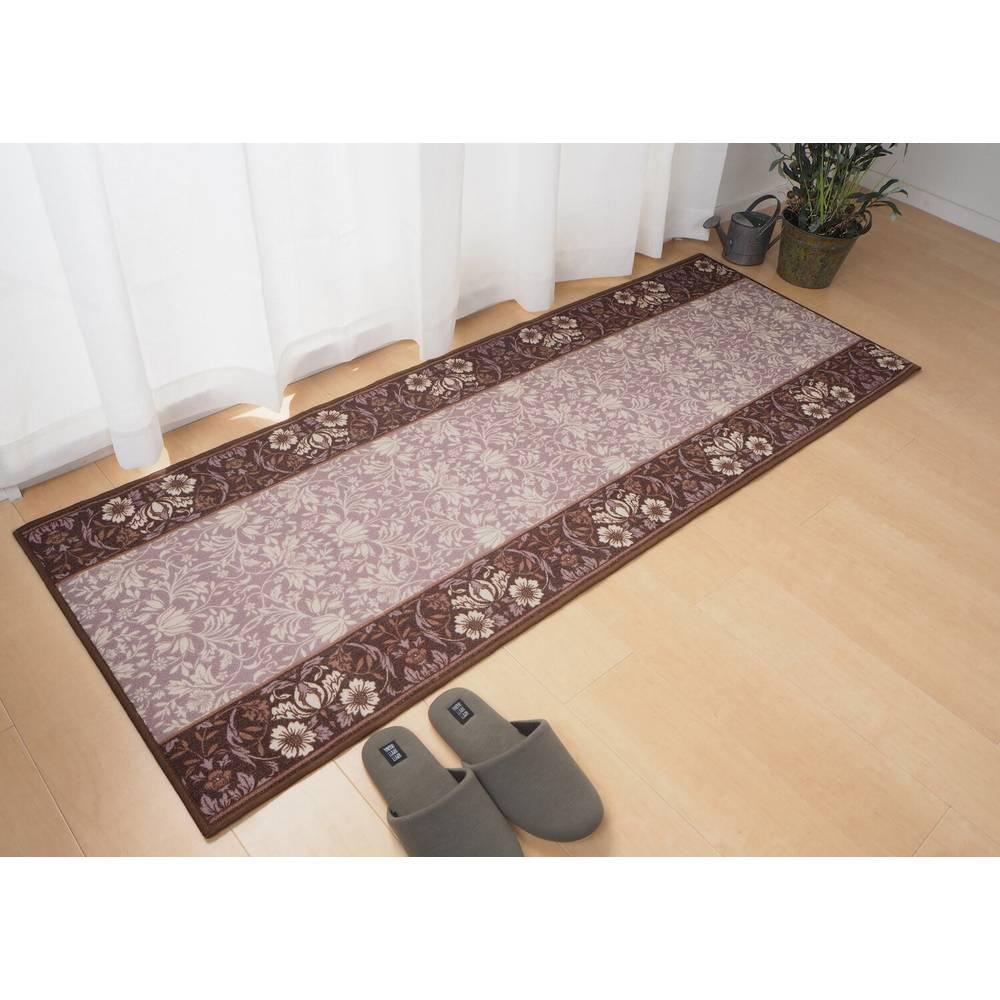 タフトプリント廊下敷き 手洗いOK 滑りにくい加工 エレガンス ブラウン 約67×700cm