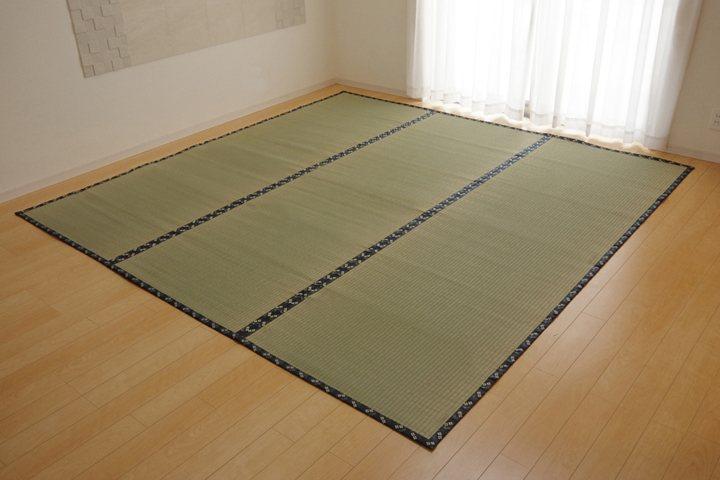純国産 い草 上敷き カーペット 糸引織 「梅花」 江戸間4.5畳(約261×261cm)