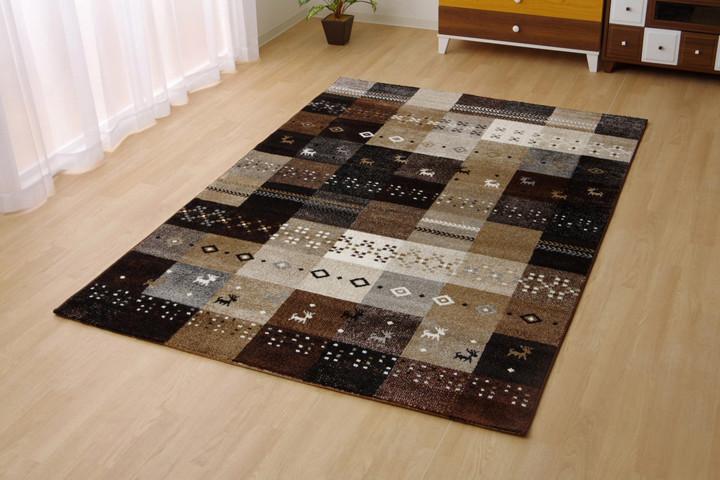 トルコ製 輸入ラグ ウィルトン織りカーペット ギャベ柄 『フォリア』 約160×230cm BE/ベージュ