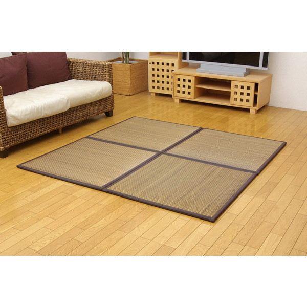 置き畳 ユニット畳 「タイド」 82×82×2.3cm 6枚(ベージュ3枚 ブラウン3枚)1セット (中材:低反発ウレタン+フェルト)