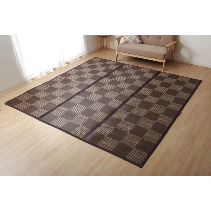 ラグ PPカーペット 「Fウィード」 ブラウン 江戸間6畳(約261×352cm)