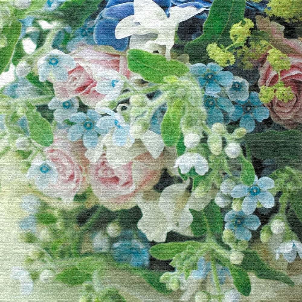 竹内陽子 ファブリックボード インテリア 雑貨 アート 花 写真 yt-300-blue-004 100cm × 100cm