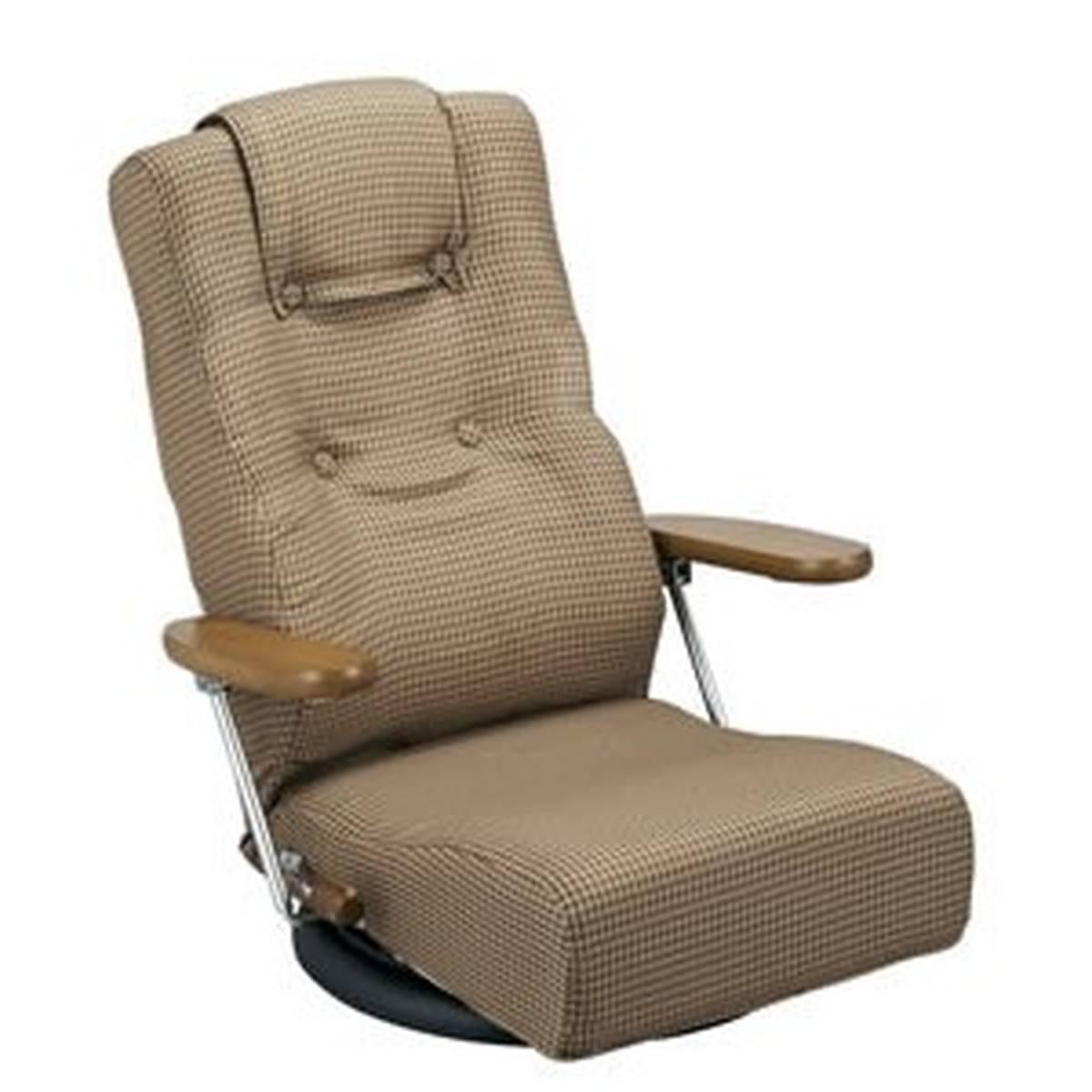 日本製 リクライニング 回転座椅子 (ブラウン)
