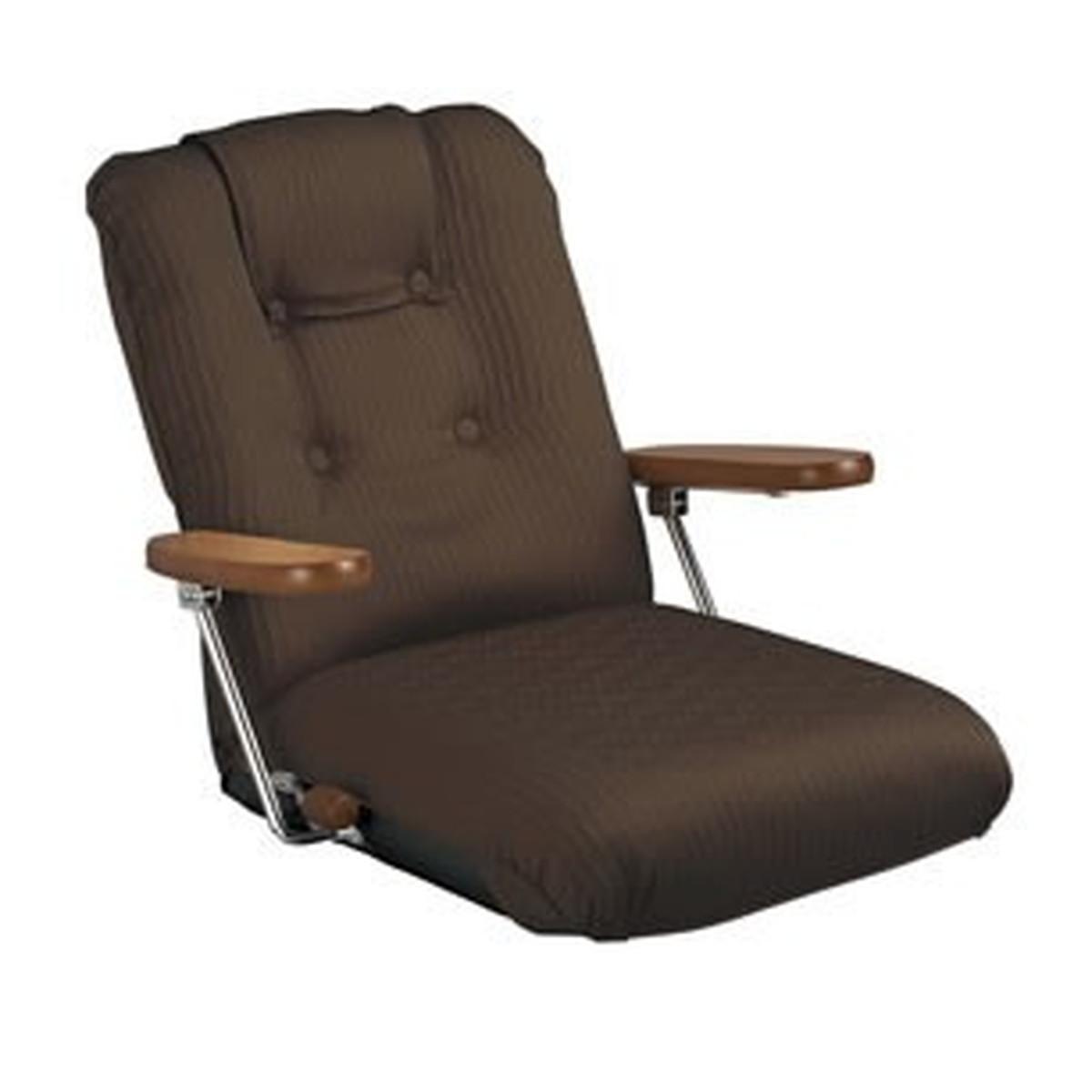 ポケットコイル仕様 リクライニング 肘付 座椅子 (ブラウン)
