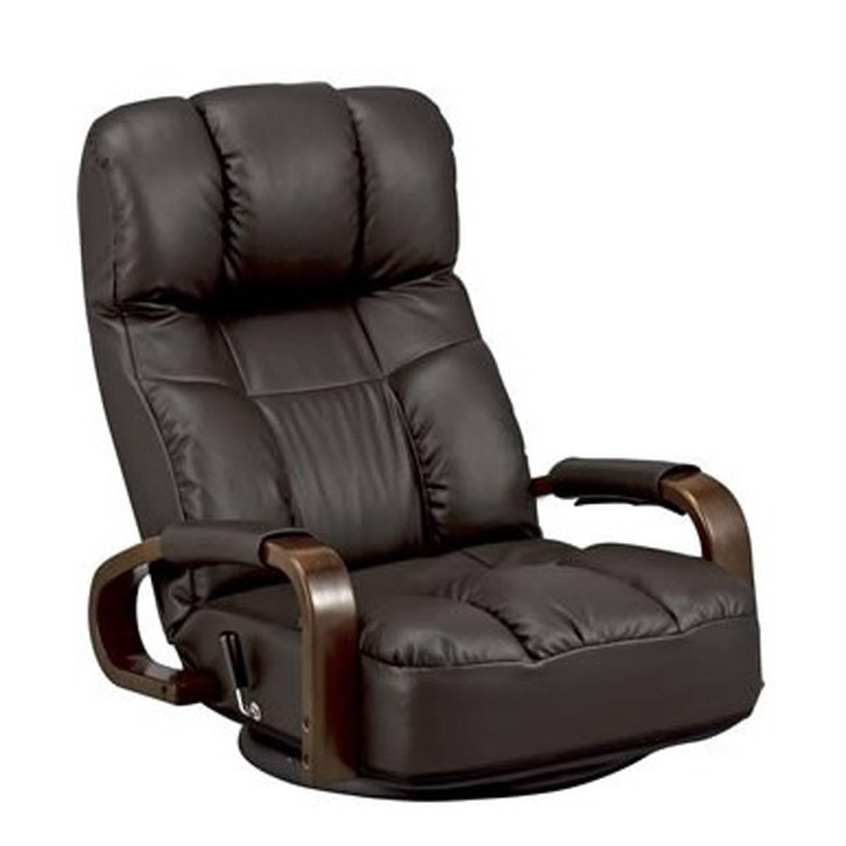ハイバック ソフトレザー 座椅子 360度回転 リクライニング機能 (ダークブラウン)