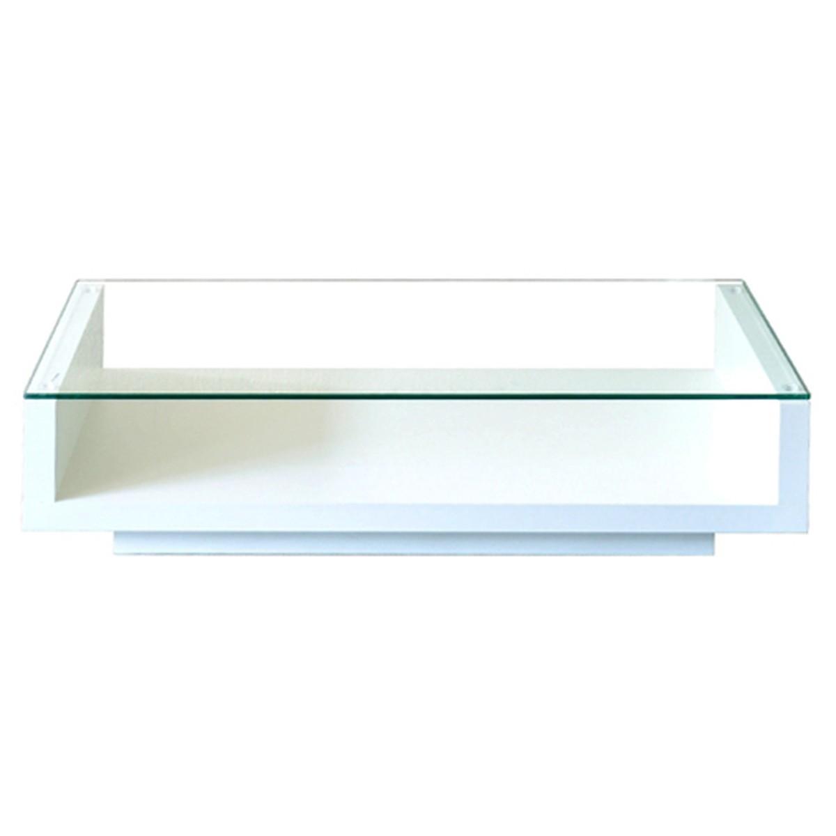 ガラス天板 ローテーブル (ホワイト)