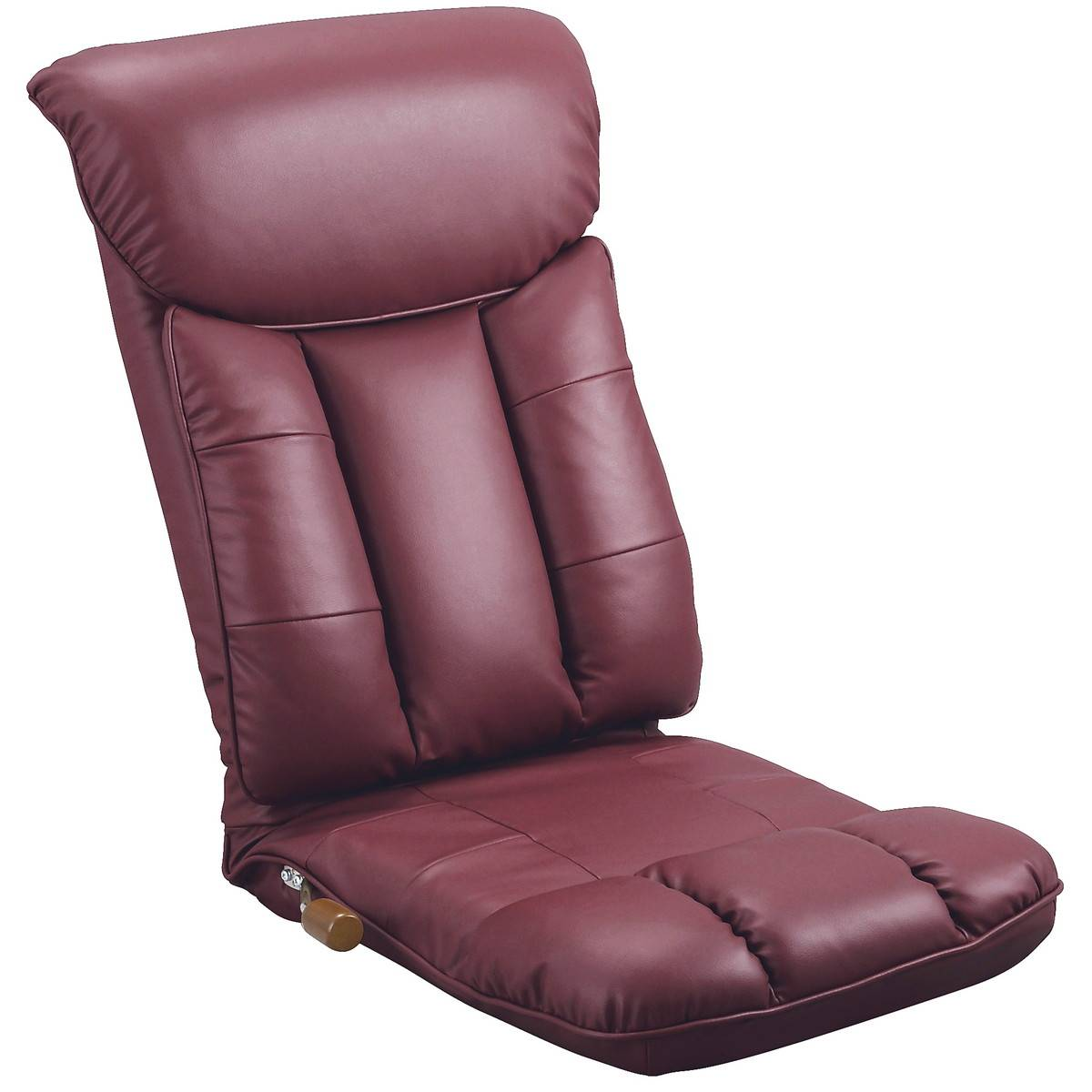 日本製 スーパーソフトレザー リクライニング 座椅子 (ワインレッド)