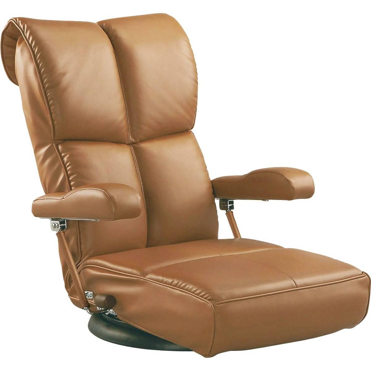 日本製 スーパーソフトレザー ハイバック座椅子 360度回転 リクライニング (ブラウン)
