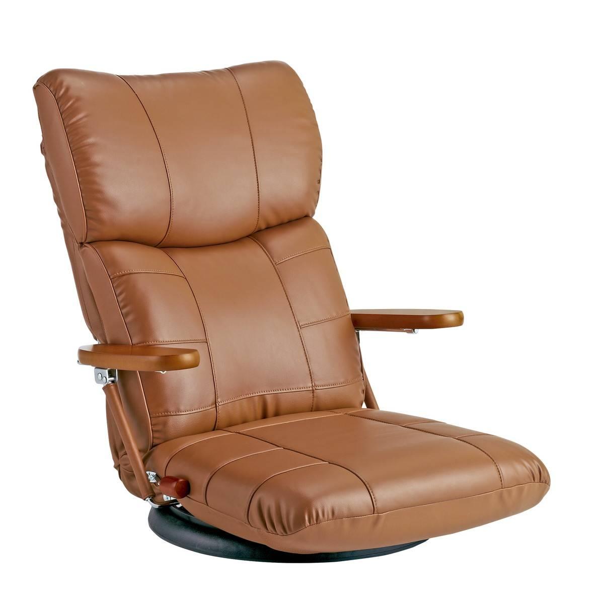 日本製 スーパーソフトレザー ハイバック リクライニング 座椅子 360度回転 (ブラウン)