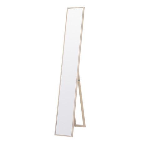 細枠スタンドミラー 幅22cm 天然木 WH (ホワイト) 全身鏡 姿見