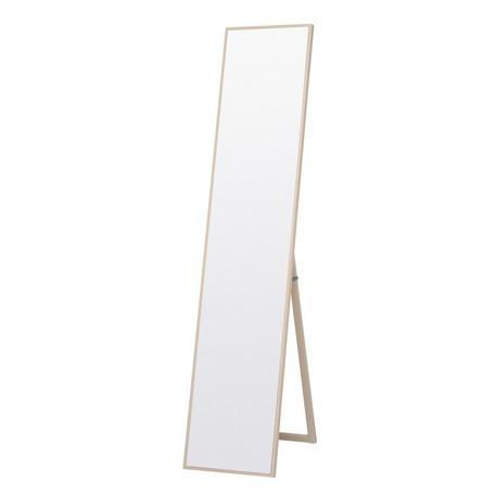 細枠スタンドミラー 幅32cm 天然木 WH (ホワイト) 全身鏡 姿見