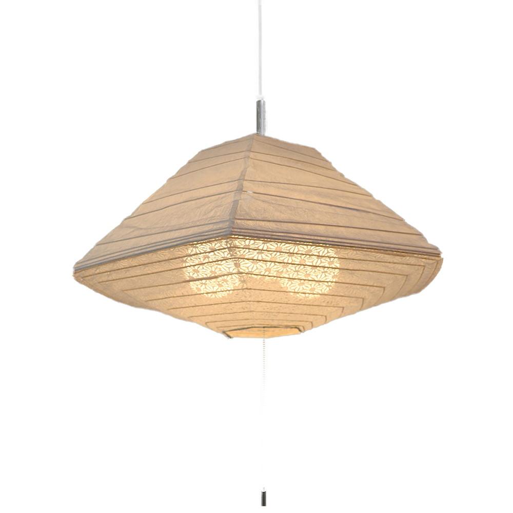 日本製 和紙照明 3灯ペンダントライト SPN3-1011 pyramid 電球別売 揉み紙×麻葉白