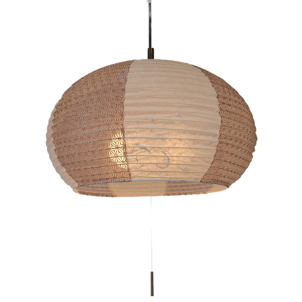 日本製 和紙照明 3灯ペンダントライト SPN3-1088 swell 電球別売 雲龍ベージュ×麻葉唐茶