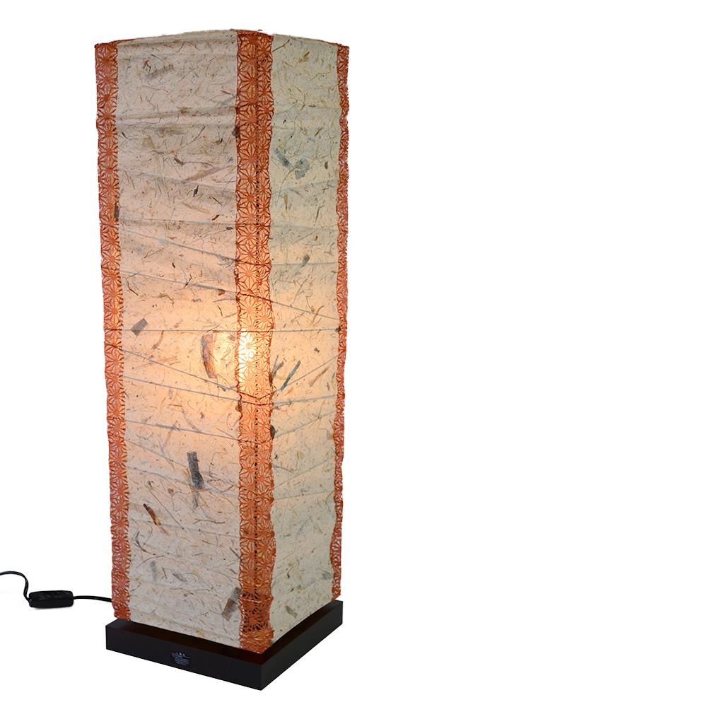 日本製和紙照明 フロアランプ B-522 box バナナ紙×(角)麻葉煉瓦