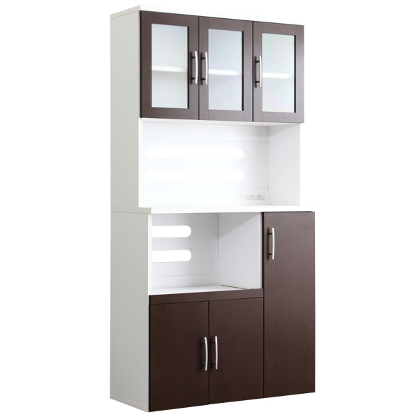 ツートン食器棚【パスタキッチンボード】(幅90cm×高さ180cmタイプ)ダークブラウン