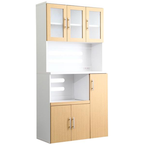 ツートン食器棚【パスタキッチンボード】(幅90cm×高さ180cmタイプ) ナチュラル