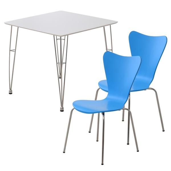 カジュアルモダン ダイニング3点セット 【-Refinado-レフィナード】 テーブル(ホワイト)+チェア2脚(ブルー)
