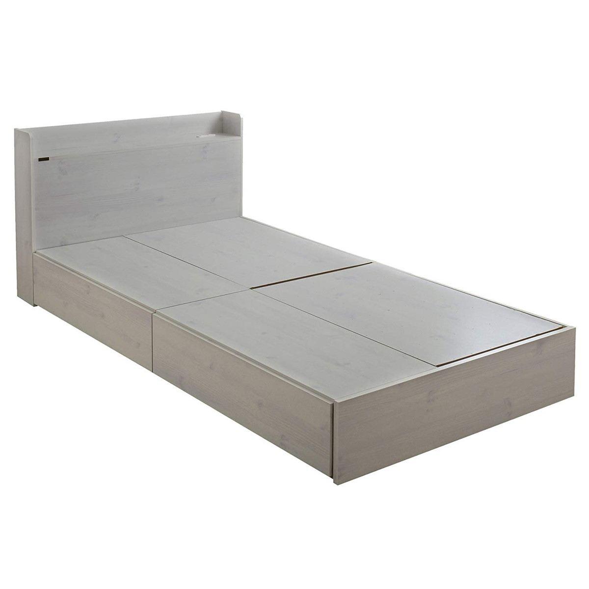 EMICA(エミカ) 収納付きベッド (ロータイプ) ホワイト 収納2分割