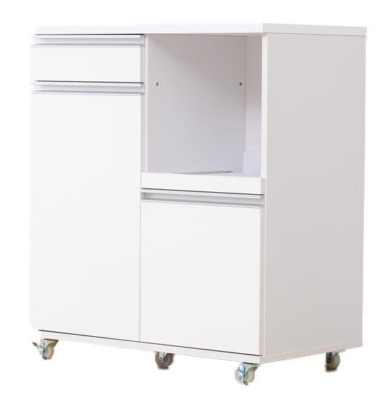 キャスター付き鏡面仕上げレンジ台 Pantry-パントリー 幅80cmタイプ ホワイト