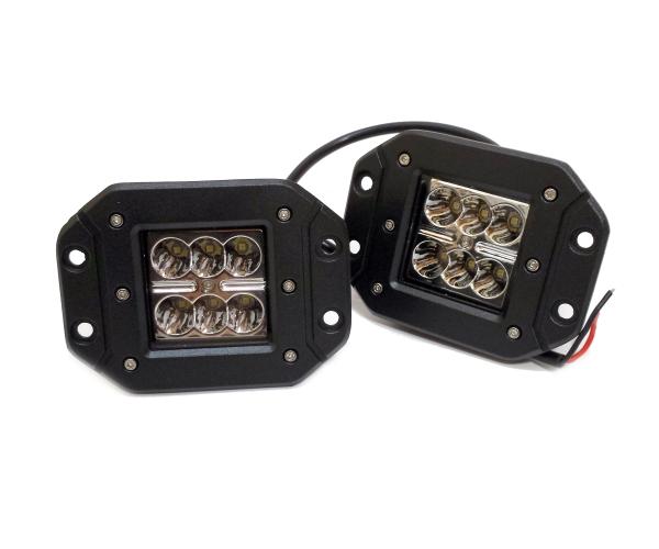フラッシュマウント LEDワークランプ 12‐24v兼用18w 爆安プライス バンパー埋め込み型 注文後の変更キャンセル返品 フォグランプ 2個セット保証付きハマーラングラーJEEPジムニートラック作業灯ランクル
