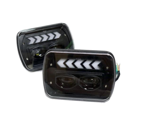 5×7インチ 汎用5×7 LED ヘッドライト プロジェクター AE86 KP61 JZA70 販売実績No.1 プラド ハイラックス FC3S シーケンシャル 角型 サニトラ 人気の製品 角目 B310 180SX