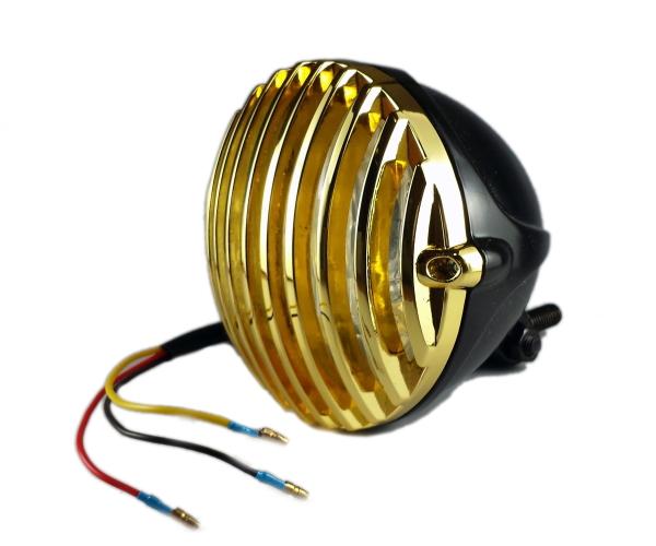 汎用 4.5インチ ビンテージヘッドライト バードケージ グリル ハーレー ニュースクール ボバー チョッパー オールドスクール バードゲージ ブラック×ゴールド