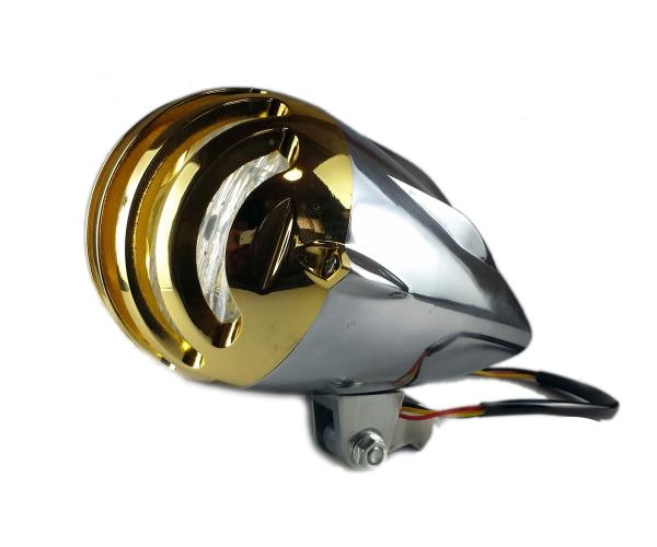 汎用 砲弾型 ビンテージ ヘッドライト バードケージ グリルブレット ハーレー ニュースクール ボバー チョッパー オールドスクール ラット ポリッシュ×金メッキ