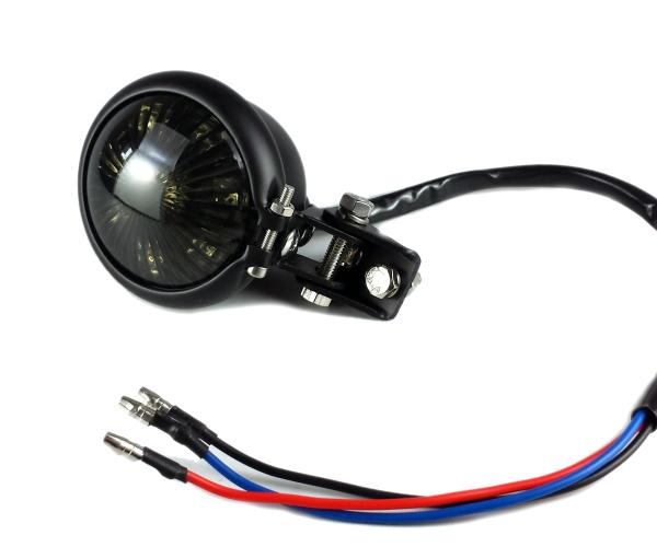 高輝度LED 汎用 在庫あり ミニ ベーツタイプ LED テールランプ ビンテージ フリスコ ストップランプ ブレーキランプ ハーレー 新旧融合 ブラック×スモーク 送料無料 アメリカン