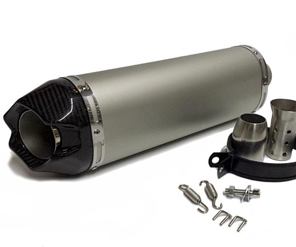 汎用50.8mmラウンドマフラー ロングサイレンサー/ YZF R-1 R-6 F5 ZX-10R ZX-9R R1 R6 CBR600スリップオンマフラー/カーボンフェイクチタン
