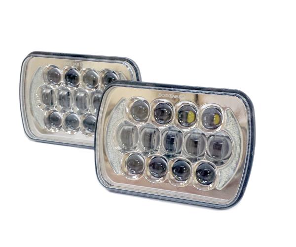 汎用5×7 LED ヘッドライト S13 SW20 AE86 KP61 JZA70 プラド B310 ハイラックス サニトラ FC3S 180SX 角型 角目 車検対応 メッキ