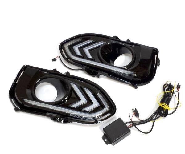 ホンダ フィット GK3/GK4/GK5系 後期 フロントウィンカー連動 GSGLXL ホワイト&アンバーオレンジ LEDデイライト左右セット