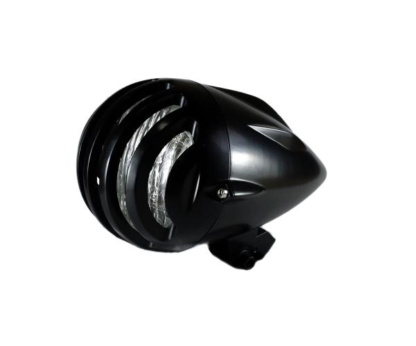 汎用 砲弾型 ビンテージヘッドライト バードケージ グリルブレット ハーレー ニュースクール ボバー チョッパー オールドスクール ブラック