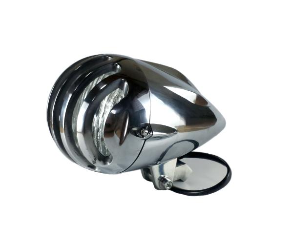 汎用 砲弾型 ビンテージ ヘッドライト バードケージ グリルブレット ハーレー ニュースクール ボバーチョッパー オールドスクール ポリッシュ
