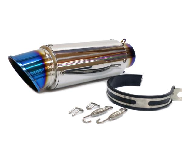 汎用60.5mm GPタイプ スリップオンマフラー/ステンレスサイレンサーR25 R3 ninja250 R6 YZF FZR FZ1 Z800 R1 チタンブルー光沢仕上げ