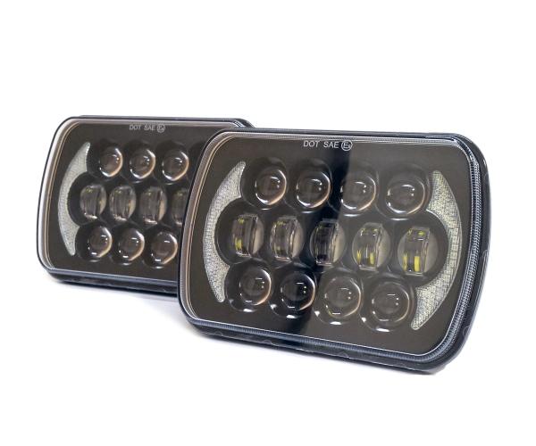 汎用5×7 LED ヘッドライト S13 SW20 AE86 KP61 JZA70 プラド B310 ハイラックス サニトラ FC3S 180SX 角型 角目 車検対応 ブラック