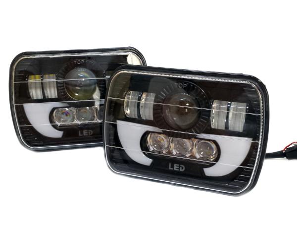 LEDデイライト DRL ヘッドライト 四角ヘッドランプ SW20 AE86 KP61 JZA70 プラド B310 ハイラックス FC3S 180SX 角型 角目 汎用